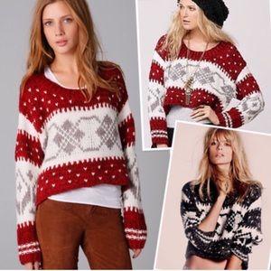 Free People Fair Isle Wool Blend Crop Knit Sweater